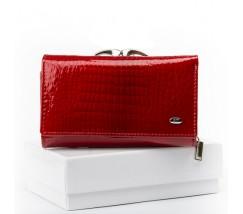 Женский лакированный кошелек кожаный красный