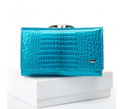 Женский лакированный кошелек кожаный голубой
