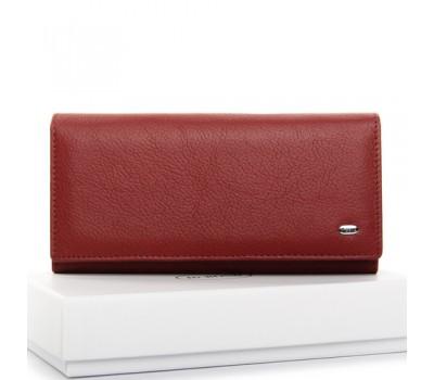 Большой кожаный женский кошелек красный