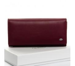 Великий шкіряний жіночий гаманець бордовий