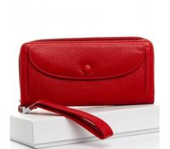 Большой женский кожаный кошелек красный