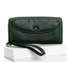 Большой женский кожаный кошелек зеленый