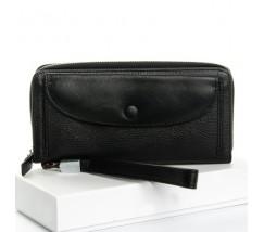 Великий жіночий шкіряний гаманець чорний