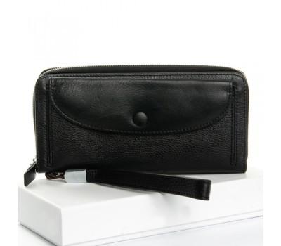 Большой женский кожаный кошелек черный