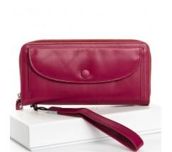 Великий жіночий шкіряний гаманець фіолетовий