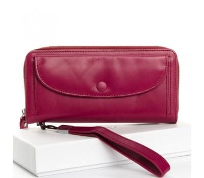 Большой женский кожаный кошелек фиолетовый