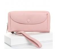 Большой женский кожаный кошелек розовый