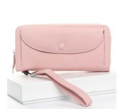 Великий жіночий шкіряний гаманець рожевий
