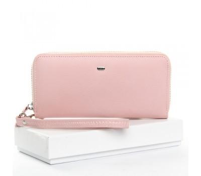 Кожаный женский кошелек портмоне розовый