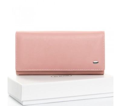 Большой кожаный женский кошелек розовый