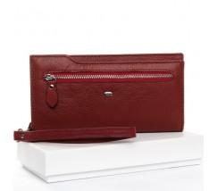 Великий жіночий гаманець бордовий з натуральної шкіри