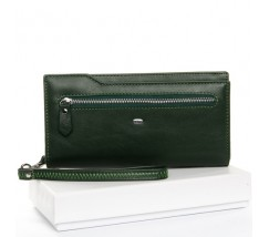 Великий жіночий гаманець зелений з натуральної шкіри
