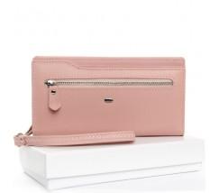 Великий жіночий гаманець рожевий з натуральної шкіри