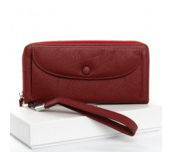 Великий жіночий шкіряний гаманець бордовий