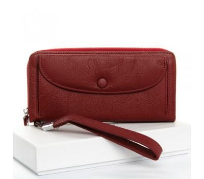 Большой женский кожаный кошелек бордовый