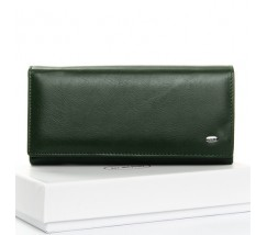 Большой кожаный женский кошелек зеленый