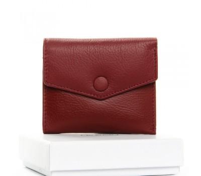 Маленький женский кошелек кожаный бордовый