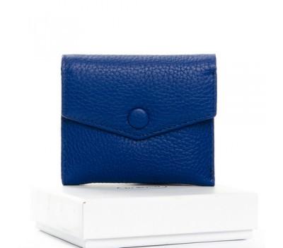 Маленький женский кошелек кожаный синий