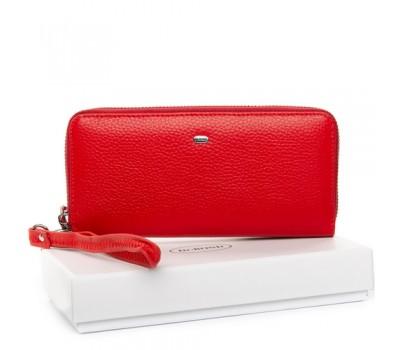 Кожаный женский кошелек портмоне красный