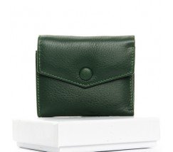 Маленький женский кошелек кожаный зеленый