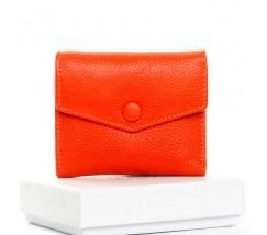 Маленький женский кошелек кожаный оранжевый