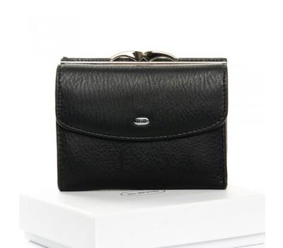 Женский маленький кошелек кожаный черный