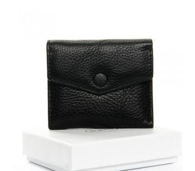 Маленький женский кошелек кожаный черный