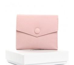 Маленький женский кошелек кожаный розовый