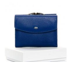 Женский маленький кошелек кожаный синий