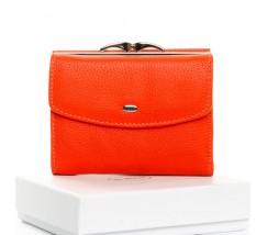 Женский маленький кошелек кожаный оранжевый