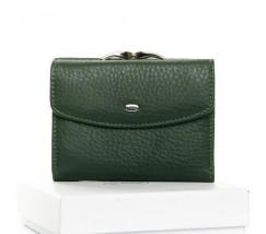 Женский маленький кошелек кожаный зеленый