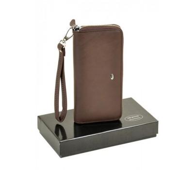 Кожаный женский кошелек портмоне коричневый