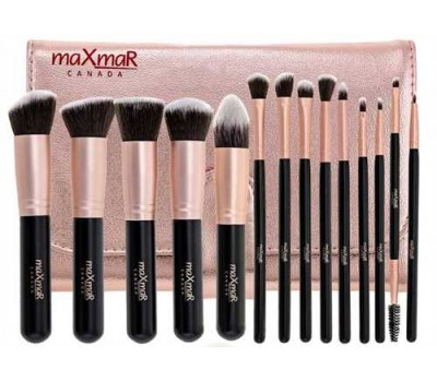 Набор кистей из 14 инструментов в футляре розовое золото maXmaR