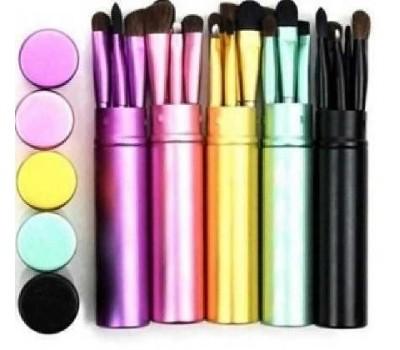 Набор из 5 кистей для макияжа в металлическом кейсе разных цветов