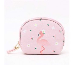Косметичка-кошелек розовая с фламинго
