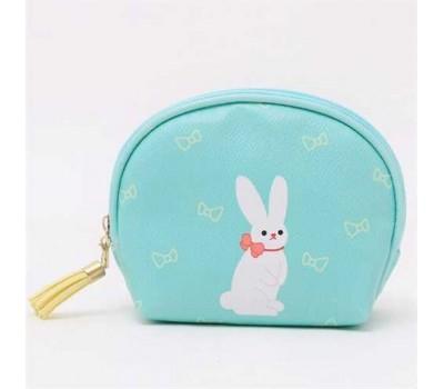 Косметичка-кошелек бирюзовая с зайцем