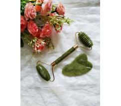 Роллер для лица с шипами и скребок Гуаша нефритовый