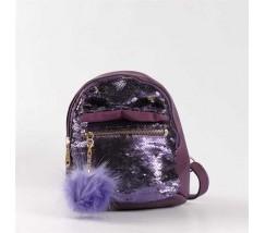 """Рюкзачок с паетками """"Бантик"""" фиолетовый"""