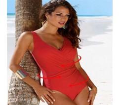 Стильный купальник женский с утяжкой больших размеров красный