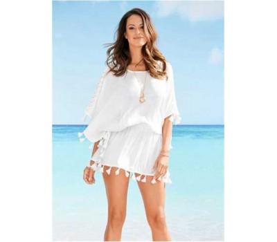 Пляжная туника с бахромой и кружевами белая