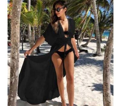 Накидка пляжная на завязках с кружевами черная