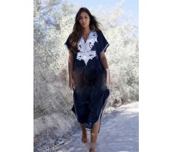 Довга пляжна накидка-сукня синя з вишивкою
