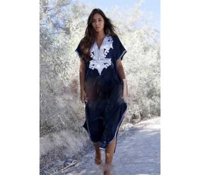 Длинная пляжная накидка-платье синяя с вышивкой