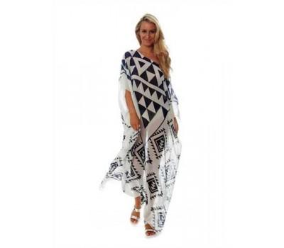 Длинное пляжное платье в геомертический узор