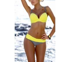 Женский яркий купальник на поролоне желтый