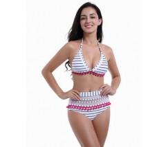 Необычный женский купальник с украшением белый в полоску