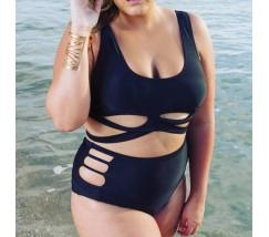 Женский раздельный черный купальник с плавками с высокой талией