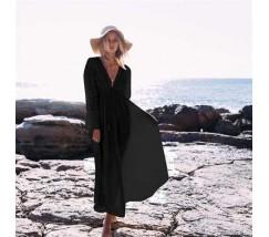 Бавовняна пляжна сукня з мереживними вставками і рукавами чорна