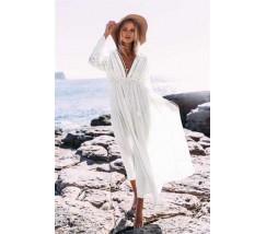 Бавовняна пляжна сукня з мереживними вставками і рукавами біла