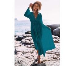 Бавовняна пляжна сукня з мереживними вставками і рукавами блакитна